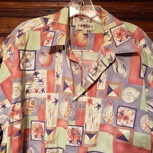 Tropical Aloha Hawaiian Shells Camp Shirt sz L